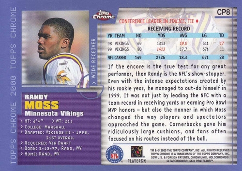 2000 topps chrome preview randy moss wr vikings