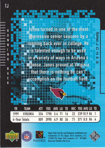 2000 upper deck ecard rookie thomas jones rb cardinals