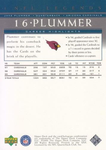 2000 upper deck legends jake plummer qb cardinals