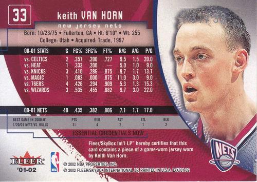 2001-02 ex essential credentials jersey keith van horn /33