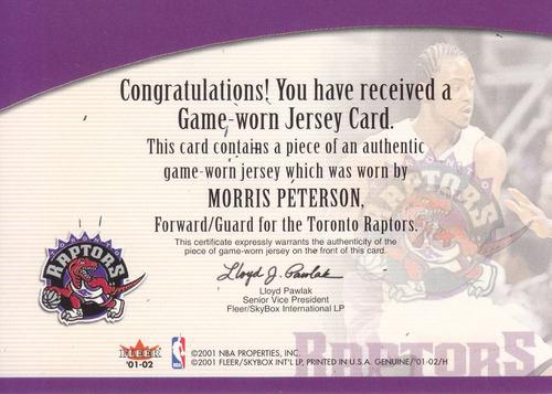 2001-02 fleer genuine jersey morris peterson raptors