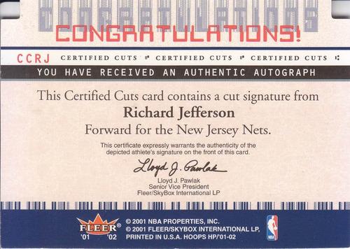 2001-02 hot prospects cert cuts autografo richard jefferson