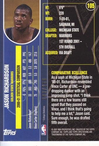 2001-02 topps xpectations rc jason richardson warriors /250