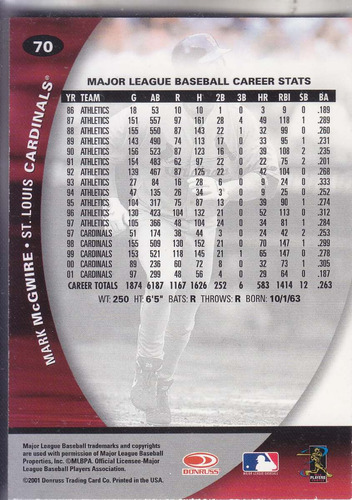 2001 donruss class of '01 mark mcgwire 1b cardinals