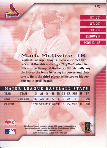 2001 donruss signature mark mcgwire cards