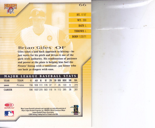 2001 donruss signature series brian giles of pirates