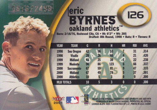2001 e-x rookie eric byrnes athletics /2499