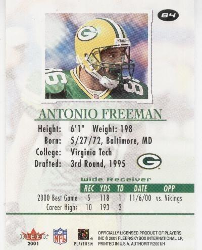 2001 fleer authority antonio freeman green bay packers
