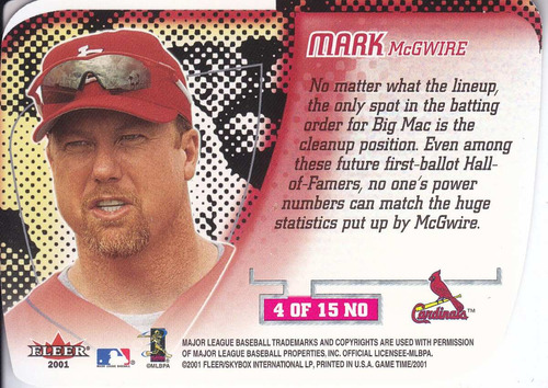 2001 fleer game time new order mark mcgwire cards