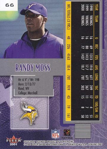 2001 fleer genuine randy moss wr vikings