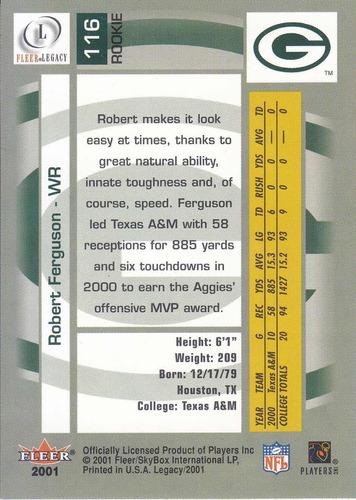 2001 fleer legacy rookie robert ferguson wr packers /999