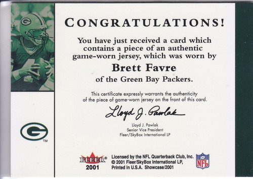 2001 fleer showcase stitches jersey brett favre qb packers