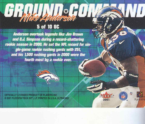 2001 fleer ultra ground command mike anderson rb broncos