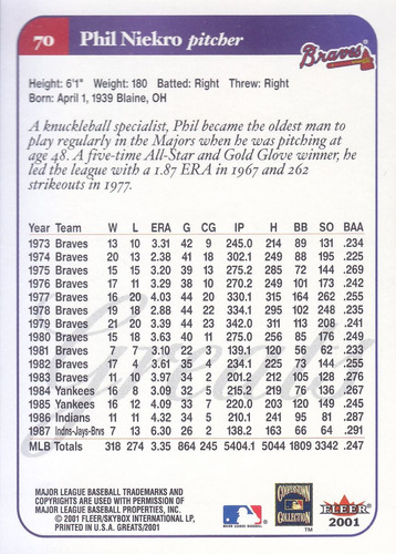 2001 greats of the game phil niekro p braves