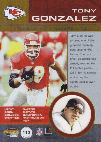 2001 pacific invincible tony gonzalez te chiefs /1000