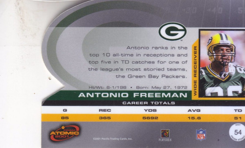 2001 pacific prism atomic antonio freeman wr packers