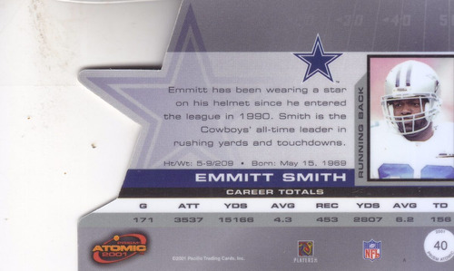 2001 pacific prism atomic emmitt smith rb cowboys