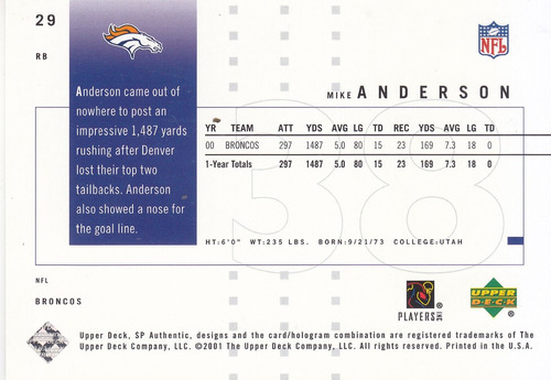 2001 sp authentic mike anderson rb broncos