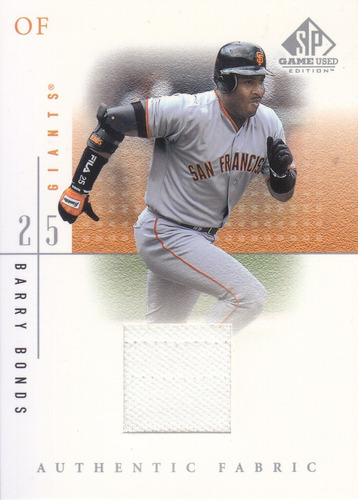 2001 sp game used jersey barry bonds giants