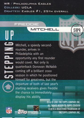 2001 stadium club stepping up rookie freddie mitchell wr eag