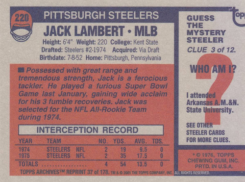 2001 topps archives reprint all pro jack lambert lb steelers