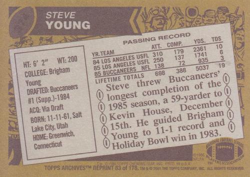 2001 topps archives reprint steve young qb buccs