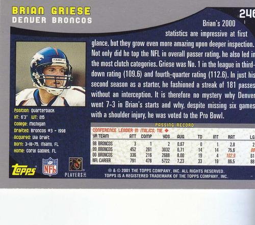 2001 topps brian griese qb broncos