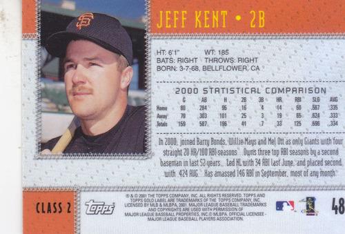 2001 topps gold label class 2 jeff kent 2b giants