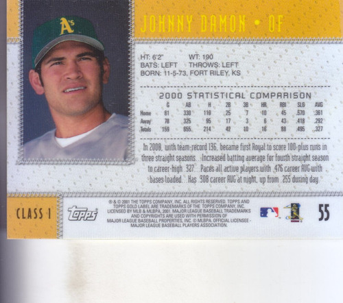 2001 topps gold label johnny damon of athletics