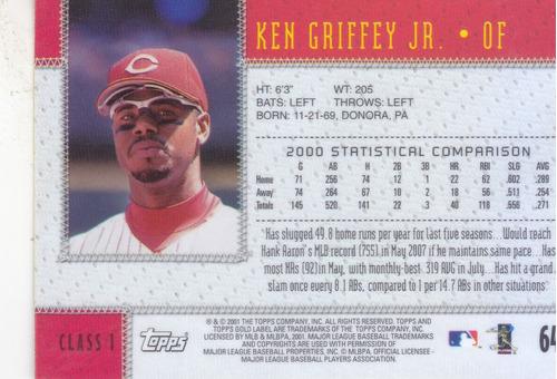 2001 topps gold label ken griffey jr. reds