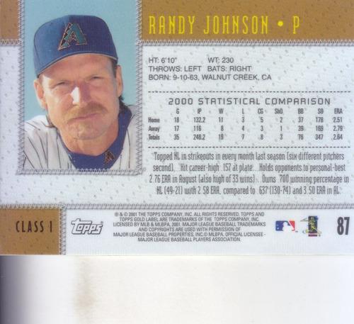 2001 topps gold label randy johnson p diamondbacks