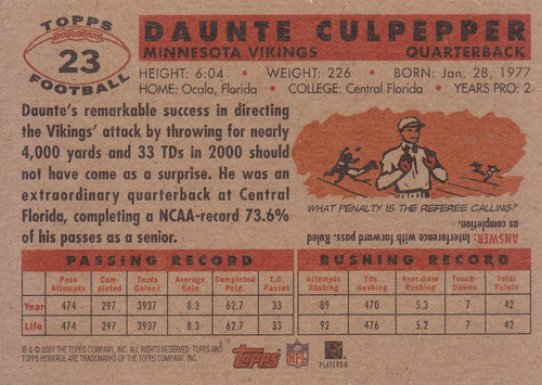 2001 topps her daunte culpepper qb vikings