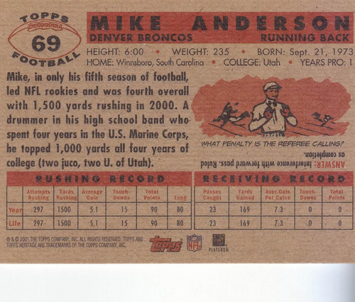 2001 topps her mike anderson rb broncos