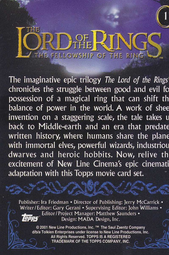 2001 topps lord of the rings card the legends comes to life