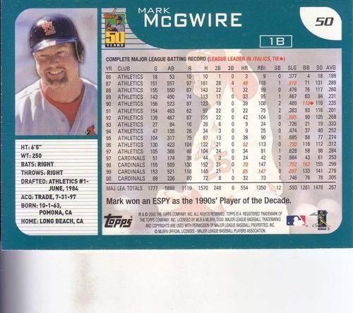 2001 topps mark mcgwire 1b cardinals