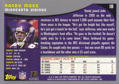 2001 topps randy moss wr vikings