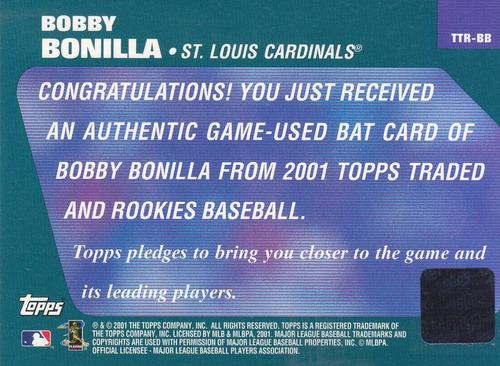 2001 topps reserve game used bat bobby bonilla cardinals