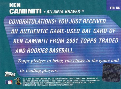 2001 topps reserve game used bat ken caminiti braves