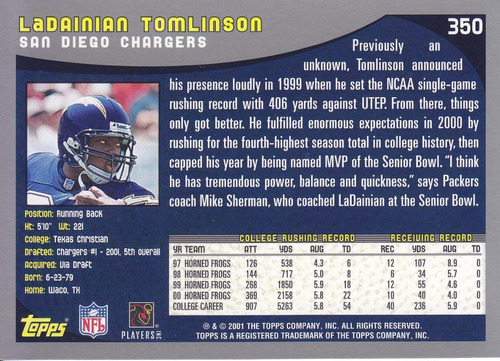 2001 topps rookie ladainian tomlinson rb chargers