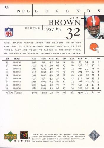 2001 upper deck legends jim brown rb browns