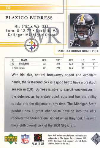 2001 upper deck plaxico burress wr steelers