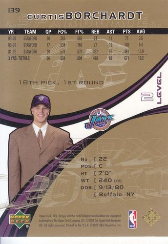 2002-03 spx spectrum rookie curtis borchardt jazz /25