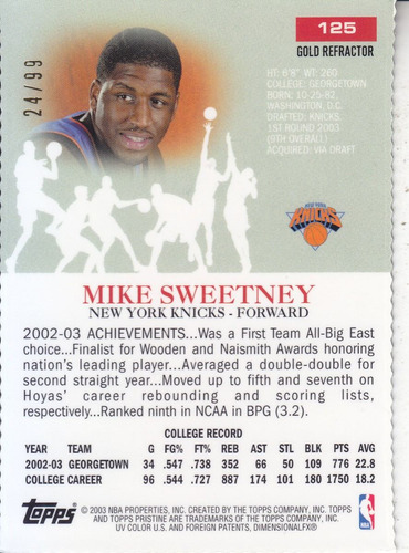 2002-03 t pristine gold dc refractor rc mike sweetney /99