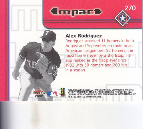 2002 fleer maximum impact alex rodriguez ss rangers