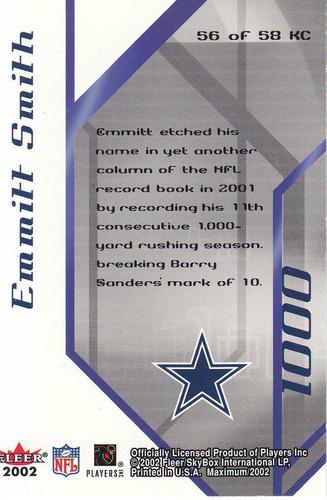 2002 fleer maximum k corps emmitt smitt 229/1021 cowboys