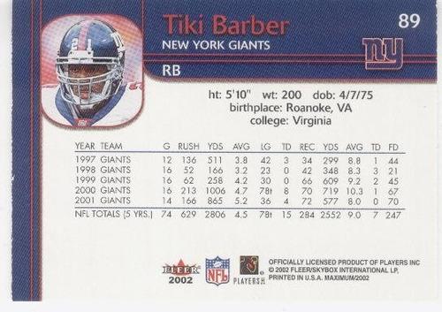 2002 fleer maximum tiki barber new york giants