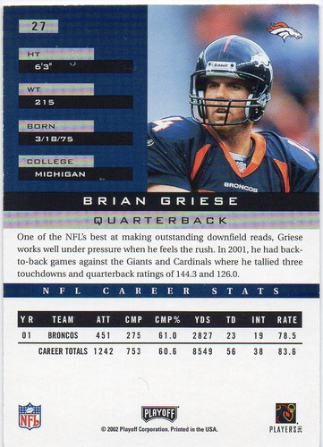 2002 playoff honors brian griese denver broncos qb