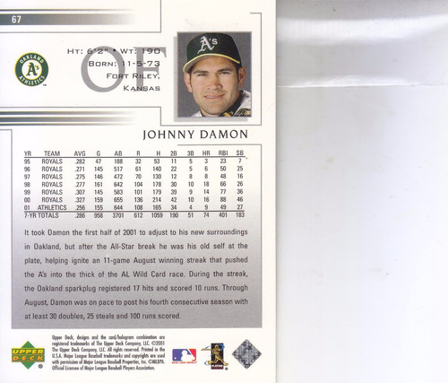 2002 upper deck johnny damon of athletics