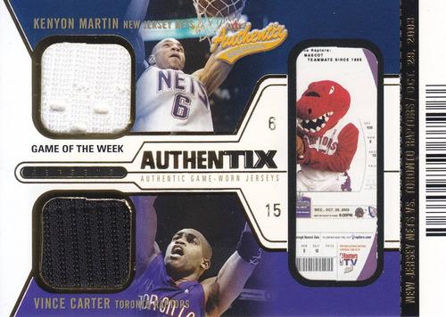 2003-04 authentix dual jersey kenyon martin vince carter /50