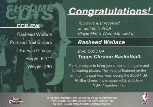 2003-04 topps chrome jersey rasheed wallace tblazers